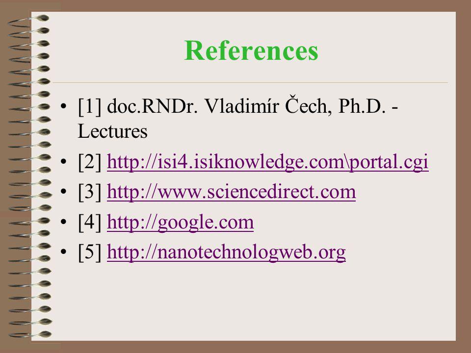References [1] doc.RNDr. Vladimír Čech, Ph.D. - Lectures